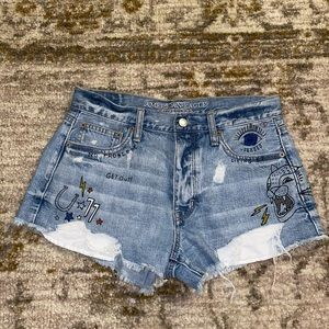 High-Rise Graphic Jean Shorts